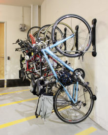 Bike storage at 118 on Munjoy Hill uses an ideal space-saving, yet convenient design.